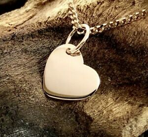 9ct 9k Rose Gold Solid 9mm Heart Pendant Charm Engravable Polished Finish Small