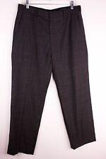 Banana Republic Mens 33 x 30 Dark Gray Flat Front Glen Plaid Wool Dress Pants
