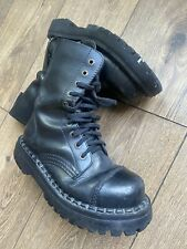 Wojas Indie Grunge Black Leather Combat Military Mid Calf Boots 4 37