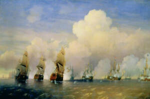 Oil painting seascape Naval battle sink the enemy's ship sail boats on canvas 36