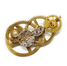 steampunk punk men pendant collar brooch pins watch movements clock parts gears