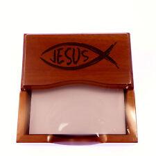 Real wood mahogany Jesus fish Christian desk top paper note pad gift ornament