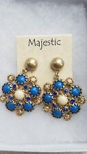 New Gold Tone blue & white rhinestone beaded post back pierced Earrings Majestic