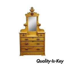 Antique Victorian Eastlake Carved Cottage Step Down Dresser Chest w/ Mirror