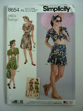 SIMPLICITY 8654 SEWING PATTERN~MISSES VINTAGE '40'S SKIRT, SHORTS & TOP~SZ 12-20