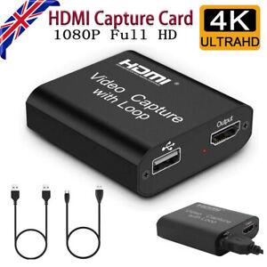 4K HD HDMI Video Capture Card 1080P USB 2.0 Mic Game Record Live Streaming