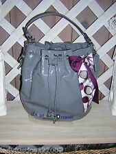 COACH GRAY patent leather bucket tote w/ pony tail scarf
