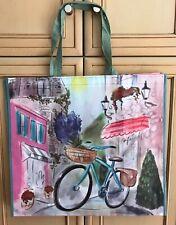 TJ Maxx European Bicycle At A Cafe Reusable Shopping Bag Tote Eco-Friendly Green