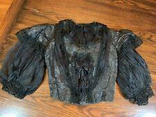New listing Antique Victorian Short Black Silk top high neck puff sleeves circa 1890s
