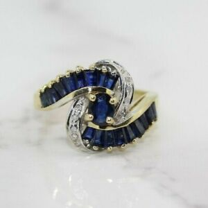 14ct Yellow Gold Blue Sapphire and Diamond Cluster Ring (Size M 1/2, US 6 1/4)