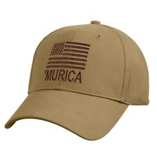 'Murica Coyote Brown Deluxe Hat With US Flag Low Profile Baseball Cap 9900