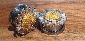 Pair Sunflower Stainless Steel Ear Plugs Flesh Tunnels Stretcher Taper 6-16mm