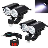 2PCS 30W Motorcycle T6 LED Headlight Driving Fog Spot Lights Universal w/ Switch