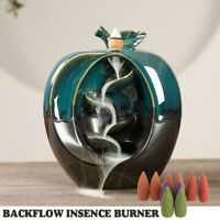 Green Apple Ceramic Backflow Waterfall Smoke Incense Burner Censer Holder+
