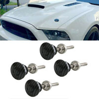 4X Car Push Button Hood Quick Release Pins Bonnet Lock Latch Carbon Fiber Look