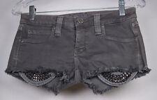 Frankie B Womens Cut Off Denim Gray Studded Shorts 25