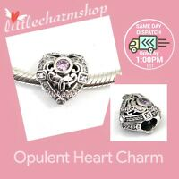 New Authentic Genuine PANDORA Silver Opulent Heart Charm - 791964CZO RETIRED