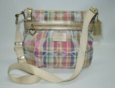 Coach Poppy Daisy Madras Signature Gold Leather Crossbody Bag F22146