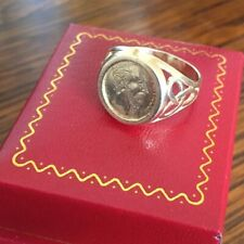 9ct 375 Gold Maximillion Coin/Love Token Ring ~ Sovereign Style Mount ~ Size R.5