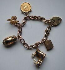 Vintage 22 & 9 Carat Gold Charm Bracelet: 32.43 grams