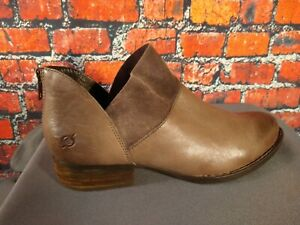 EUC women's BORN tan/gray leather ANKLE BOOTIES - SIZE 9 1/2 - AWESOME BOOTIES