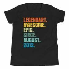 Legendary Awesome Since August 8th Birthday Gift Boy Youth T Shirt Cotton Black