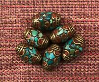 Tibetan-Style Natural Drilled Beads Brass Caps Inlaid Coral Turquoise (Lot of 6)