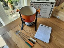 Vintage Le Creuset Fondue Set Boxed 4 x Skewers Volcanic Orange