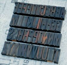 "A-Z alphabet 3.23"" letterpress wooden printing blocks wood type Vintage printer"