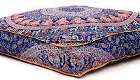 Éléphant Mandala Indien Pouf Sol Coussin Repose-Pieds Ottomane Carré 88.9cm