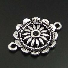 30pcs Retro Style Silver Round Sunflower Connector Jewelry Accessory Findings
