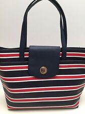 Tommy Hilfiger Handbag *Navy Blue Stripe Shopper Shoulder Bag Tote $85 New