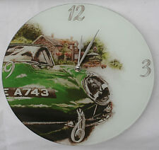 Large Round Jaguar E Type Car Wall Clock - with instructions quartz movement.