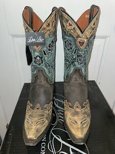 Dan Post Boots Women's Cowboy Vintage Blue Bird Western boot Size 9