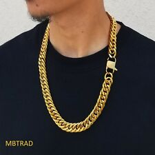 Thick 14k Gold Plated Stainless Steel Cuban Link Gold Chain