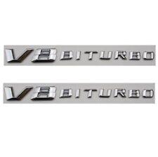 2pcs Chrome Letters V8 BITURBO Fender Emblem Badge Emblems for Mercedes Benz AMG