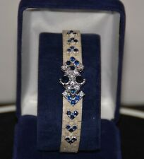 Bracelet ancien or blanc saphirs et diamants