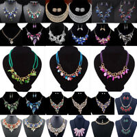 Fashion Charm Jewelry Crystal Pendant Choker Chunky Statement Chain Bib Necklace