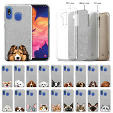 "For Samsung Galaxy A10e A102U 5.83"" 2019 Dog Cat Silver Glitter Tpu Cover Case"