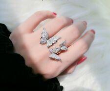 Double Rhinestone Butterfly Ring  Open Adjustable
