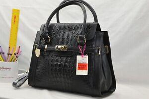 GENUINE LEATHER - NEW - Jane Shilton Designer Shoulderbag Handbag - BLACK CROC