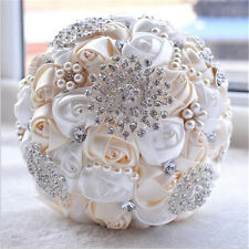 Handmade Wedding Rose Flower Bridal Bouquet Crystal Pearls Silk Satin Brooch New