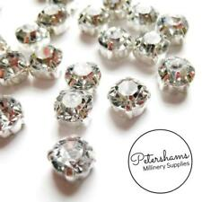 24 Sew-On or Glue-On 8mm Diamantes / Rhinestones for Wedding Crafts & Millinery