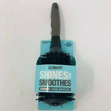 Conair Shines and Smooths Ceramic 100%  Boar Bristle Brush Gray Handle