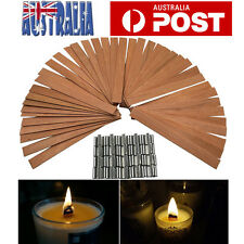 50pcs Wood Candle Wicks w/ Sustainer Tab Candele Wick for Candle DIY Making