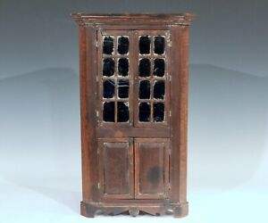 Antique Miniature Salesman Sample Corner Cupboard Blue Windows Signed C 1880 20""