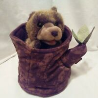 Folkmanis Puppet 2012 Hand Bear In A Tree Stump Brown Washable Toy Plush #2904