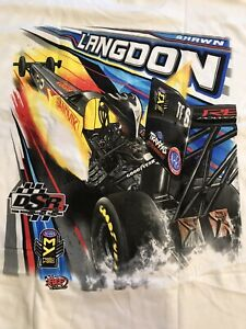 "NHRA DRAG RACING ""TOP FUEL DRIVER"" SHAWN LANGDON White T- SHIRT  SIZE 2X"