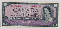 RC0160 Canada 1954 $10  beattie-coyne devil's face combine shipping