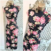 KAREN MILLEN 💋 UK 10 Pink Roses Oriental Chinese Wiggle Pencil Dress Free P&P